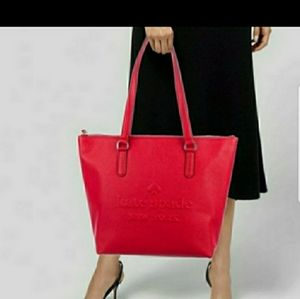 Kate Spade Penny Larchmont Avenue logo tote red